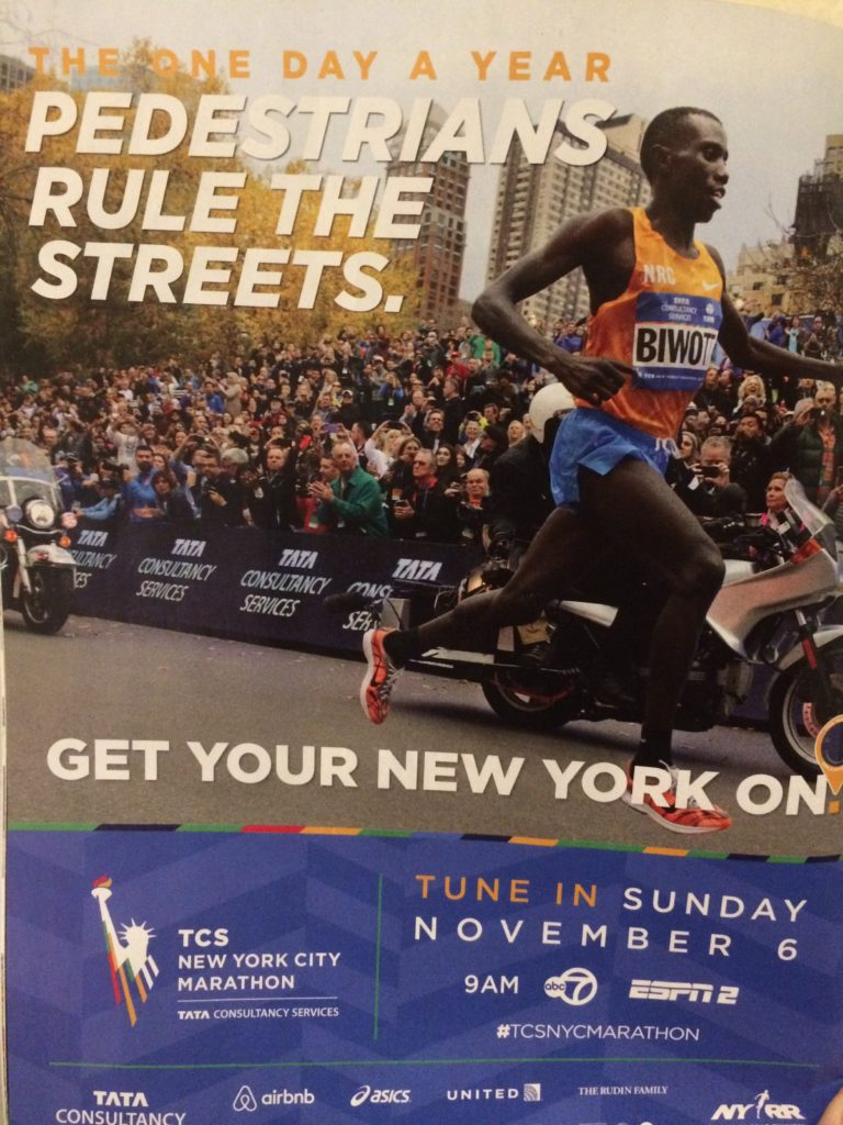 "Poster for New York City Marathon, ""The One Day a Year Pedestrians Rule the Streets"""